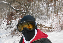 Who is that Masked Person??? (Mulewings~) Tags: winter me creek walking fun mask walk goggles hike valley snowshoeing
