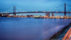 Ben Franklin Bridge (mhoffman1) Tags: bridge philadelphia night river lights evening newjersey unitedstates suspension dusk pennsylvania camden steel illuminated delaware benfranklinbridge hdr stateline drpa delawareriverportauthority hdrefexpro