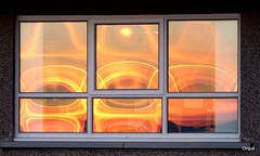 Sunset In A Window (orquil) Tags: sunset colourful abstract unusual patterns different colorful reflection reflections glass panes window rectangular scapa winter january orkney scotland uk odd dwwg