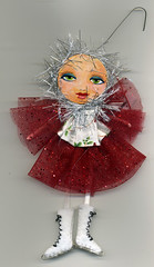 Tinsel ice skater (Frilled Daisy) Tags: dolls ornaments handpainted fabris
