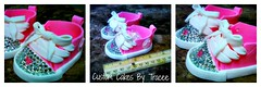 Gumpaste Baby Converse (Custom Cakes By Tracee) Tags: pink baby cake shower shoes heart converse edible rhinestones laces