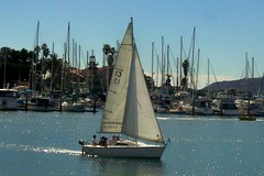 Sail Away to the Light (nanaofhuck) Tags: ocean ca by sailboat island harbor sandiego taken somethingblueinmylife nanaofhuck