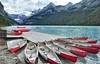Red Canoe Escape (Jeff Clow) Tags: canada alberta lakelouise banffnationalpark tpslandscape