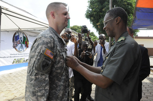 USARAF Soldier pinned by U.S. ambassador in Africa