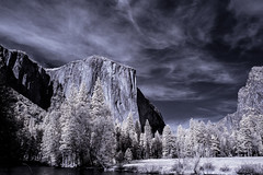 Into the Valley (eCHstigma) Tags: california mountains forest landscape ir nikon d70 yosemite infrared elcapitan nationalparks yosemitevalley falsecolor