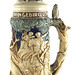 3014. Large German Majolica Hunt-Scene Stein
