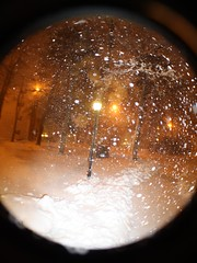 Snow Globe (blackunigryphon) Tags: winter snow cold night evening globe blizzard