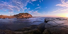 Terrigal Dawn (Torkn2U) Tags: ocean longexposure panorama cliff seascape sunrise landscape dawn rocks surf pano australia panoramic le nsw ce