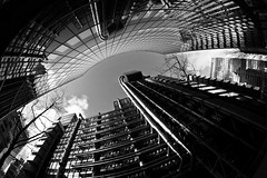 Lloyds Building - City of London (louistib) Tags: blackandwhite london architecture fisheye lloyds ef15mmf28 wwwltchamboncom
