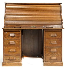 63. Oak S-Roll Top Desk