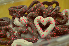 Chocolate Pretzels (doseofdesire) Tags: food cute hearts yummy candy chocolate mmm sprinkles pretzels vday sweets valentines valentinesday whitechocolate delish chocolatecoveredpretzels