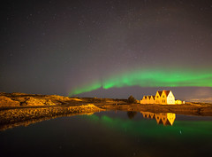 Straumur , Hafnafjrur Iceland.#17 Explore (Gulli Vals) Tags: old light house reflection water iceland aurora northernlights borealis straumur lveri hafnafjrur