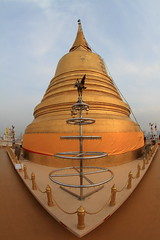 "Chedi de ""La Montagne Dore"" (Golden Mountain - Wat Saket) - Bangkok - Thalande (Micky75017) Tags: voyage city trip travel viaje light mountain architecture montagne canon thailand temple gold golden michael photo asia bangkok capital religion wide picture buddhism wideangle fisheye mount 7d asie capitale wat saket 815 thailande doree chedi bouddhisme   grandangle   ramav illumin ducloux  micky75017"