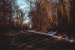 Winter [02.21.13] (Andrew H Wagner | AHWagner Photo) Tags: road trees winter sunset snow mountains nature forest canon landscape eos woods shadows dof bokeh pennsylvania path bare 85mm sunsetting f12 85l f12l 5dmkiii 5dmk3 5d3 5dmarkiii 5dmark3