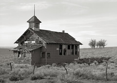 Abandoned Schoolhouse, Goodnoe Hills, Washington (austin granger) Tags: school abandoned film students field washington time decay shingles ruin windmills memory impermanence schoolhouse largeformat deardorff goodnoehills austingranger