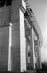 [Pier supports for the Pattullo Bridge under construction]