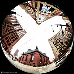 congress & state (digitizedchaos) Tags: chicago fisheye statestreet circular congressstreet ilinois haroldwashingtonlibrarycenter sigma45