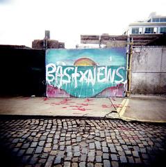 Water Street (neilsonabeel) Tags: street nyc 120 6x6 film water brooklyn square holga mural stones hill cobble vinegar medium format analogue