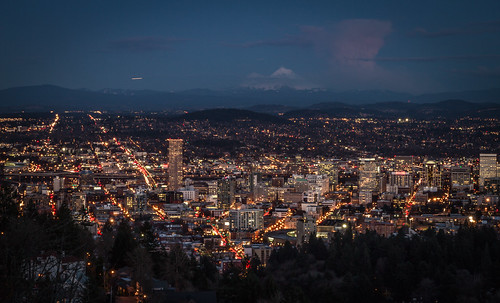 Portland at night with Mt Hood