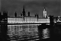 Echos of past times (forayinto35mm) Tags: blackandwhite london 50mm pentax iso400 housesofparliament bigben southbank ilfordhp5 hp5 pentaxmesuper smc riverthames ilford