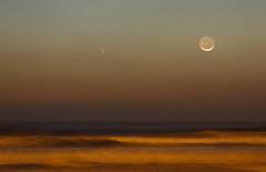 Comet PANSTARRS and moon. March 12, 2013 (TomFalconer) Tags: california moon beach twilight dusk crescent astrophotography pismo comet slo panstarrs c2011l4