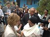 German first lady Daniela Schadt meets Abebech Gobena at AGOHELD