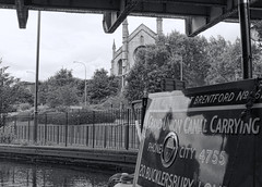 Camp Hill locks Birmingham & Fazeley canal (plw1053) Tags: plw1053 paullgwells camphill birmingham birminghamandfazeley canal marcellus church waterway blackandwhite bw monochrome