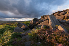 Over Owler Tor (Paul Newcombe) Tags: peakdistrict heather goldenhour sunset sidelight august derbyshire peaks uk landscape rocks 2016 paulnewcombephotography england countryside outdoors gritstone