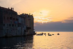 Sunset in Rovinj (The Green Album) Tags: sunset cliche rovinj croatia istria sea boats travel clouds walls historic character golden