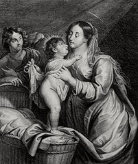 Phillip Medhurst presents Bowyer Bible Gospels print 3343 Virgin and Child after Rubens (Phillip Medhurst) Tags: jesus christ jesuschrist bowyerbible phillipmedhurst rubens mary holyinfant virginandchild cradle