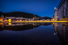 Bergen after rainy day (Paulius Bruzdeilynas) Tags: bergen norway norge norwegian city evening summer reflection bluehour puddle bryggen heritage travel trip travelling sony sonyalpha sonya7ii
