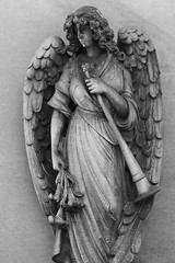 Harbinger (K.G.Hawes) Tags: art cemetery grave graves gravestone graveyard sculpture statuary stone stonework angel angelic angels statue black white bw blackandwhite monochrome monochromatic