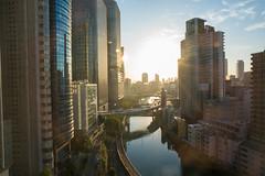Rising Sun (dakw23) Tags: osaka sunrise canal urban flyover mitsuigardenhotel zeiss 21mm28 loxia