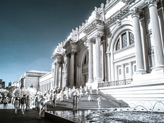 Morning at the Met (Explore, Sept. 17) (Mildred Alpern) Tags: met museum infrared people fountain outdoors