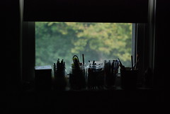 Window Sill (onseali) Tags: bedroom silhouette window windowsill paint brushes pencils pens jars framing