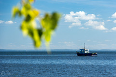 (klgfinn) Tags: autumn bay cloud landscape leaf ship shore sky skyline water