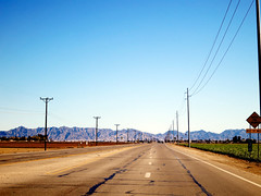 The Road Out of Yuma (TheJudge310) Tags: road street arizona usa mountains lines driving power unitedstates roadtrip yuma 2012 canonpowershots100 riseofthephoenix