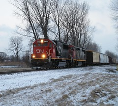 CN M39161 21 North w/ CN 5420 & CN 2414 (blackjack1518) Tags: railroad winter snow michigan northbound wyandotte canadiannationalrailroad emdsd60 milepost41 cn2414 gec408m exoakway cnshorelinesub cn5420 cnm3916121