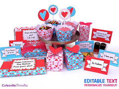 VALENTINES Printable Set - Cake Wrappers Cake Toppers Boxes Place Cards Chocolate Bar Wrappers - EDITABLE TEXT Personalize Yourself (Cutezville Printables) Tags: pink blue red cute love cake digital wrapping paper hearts design diy flavor sweet box drawing chocolate unique text craft file valentine cupcake card gift elements download sweets valentines romantic boxes pdf treat etsy ideas making yourself development template toppers goody wrappers papermaking personalize cardstock printables printable favour cutesville changeable editable personalise papergoods sweetwrappers treatbox cuteideas paperelements cutezville