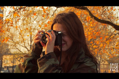 05 (Spite Your Face Productions) Tags: park autumn red portrait fall girl leaves yellow warm dslr spontaneous londonfields