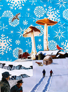 LARRY CARLSON, The Mushrooms of Winter, collage on paper, 14x12in., 2013