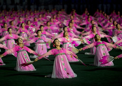 Arirang Mass Games At May Day Stadium, Pyongyang, North Korea (Eric Lafforgue) Tags: show pink people color colour horizontal night asian creativity outdoors photography togetherness clothing women war asia nightshot outdoor stadium propaganda flag politics capital performance celebration event repetition hanbok mass multicolored awe performer stade northkorea traditionalculture skill axisofevil pyongyang dictatorship occupation dprk stalinist traditionalclothing arirang capitalcities choregraphy traveldestinations colorimage teamevent traditionalfestival northkorean traveldestination stagecostume democraticpeoplesrepublicofkorea artscultureandentertainment onlywomen massgames celebrationevent peopleinarow maydaystadium dpkr performingartsevent massgame rungrado massmouvement largegoupofpeople eti4421