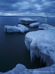 Shoreline Ice ... twilight sculptures (Ken Scott) Tags: longexposure winter sunset usa snow ice leland twilight michigan shoreline lakemichigan greatlakes february freshwater leelanau pyramidpoint 2013 e620 kenscottphotography kenscottphotographycom