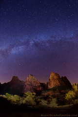 "Milky Way over Court of the Patriarchs (IronRodArt - Royce Bair (""Star Shooter"")) Tags: nightphotography sky night stars sandstone nightscape cliffs zion zionnationalpark heavens universe constellations starry nightscapes courtofthepatriarchs patriarchs starrynightsky"