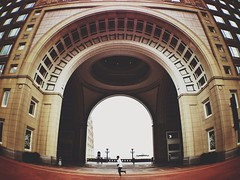 A Jogger Under the Arch (AnthonyTulliani) Tags: people boston architecture arch walk run jog iphone timing mobilephotography iphone5 vsco iphoneography vscocam uploaded:by=flickrmobile flickriosapp:filter=nofilter