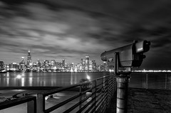 And The Wind Blows (benchorizo) Tags: city urban blackandwhite chicago skyline clouds buildings cityscape monochromatic lakemichigan telescope hdr chicagoskyline adlerplanetarium chicagoist banias citynights blowingclouds benchorizo romeobanias