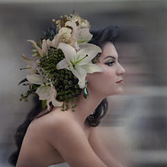 Lilies Upon Her Hair (trini61) Tags: flowers wedding portrait green girl bride profile lilies bouquet