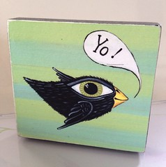 two new in my shop! (PatriciaMonkey) Tags: flying folkart etsy recycle blackbird bigeye