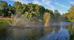 Missing hometown... (Una S) Tags: park city summer lake reflection water fountain evening rainbow latvia valmiera latvija dzirnavu ezeri