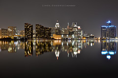 52Week10 (Linda Goodhue) Tags: reflection nightscape nightshot hdr detroitriver windsorontario bracketing detroitmichiganusa bordercities 52week10 lindagoodhuephotography
